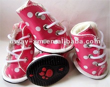 Durable and fashional pink PU pet shoes for dogs