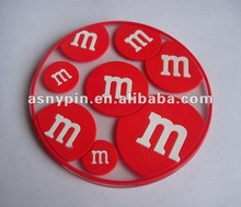 Red M&M soft PVC coaster