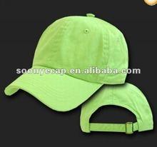 LIME GREEN BASEBALL CAP HAT CAPS PLAIN ADJUSTABLE POLO
