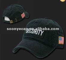 BLACK SECURITY GUARD BASEBALL CAP CAPS HAT HATS US FLAG