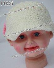 2012 New !100% cotton crochet baby visor hats,handmade crochet baby girl beanie hat,knitted hat patterns for girls