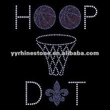 HOOP DAT - with Basketballs, Hoop & Fleur de Lis - Rhinestone Transfer
