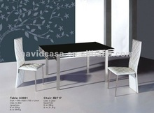 A8001 metal black glass dining room sets