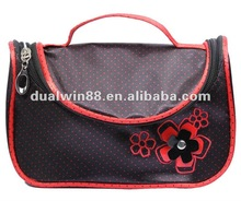 satin cosmetic bag with mirror and brush holder