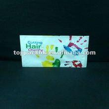 Wholesale plastic custom zipper bag with window/bottom open/for cutting hair