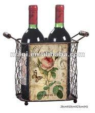 Antique elegant metal wine rack with flower
