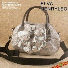 Silver triumph cat bow knot lighten paillette 2012 Autumn ladies bag