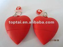 PVC red heart shape usb pen drive, beautiful heart shape usb, nice red heart usb flash memory