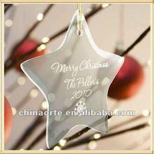 Star Shape Glass Custom Christmas Logo Ornament For Party Supplies