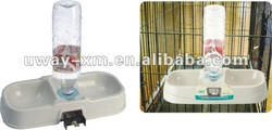Multi-function square pair bowl and water bottle for pets