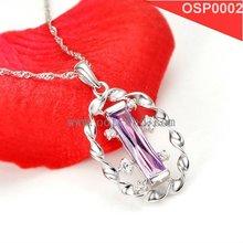 Hot sale 925 silver drop pendant inlay purple pendant