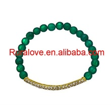 2012 STUNNING crystal pave bar bracelet with green onyx