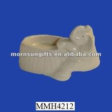 fantasia bianco portacandele in ceramica elefante