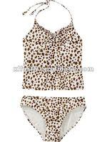 Sexy Fashion Cute Animal-Print Ruffle Tankinis Girls Swimwear