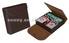 Poker chip set packed in travel bag