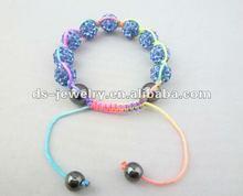Light Blue Crystal Clay Disco Ball Woven Shamballa Bracelets