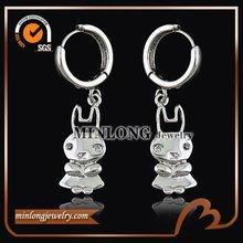 Fine quality rhodium Rabbit earrings