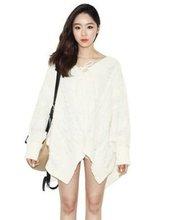 Shuge 2012 Wholesale Elegant Batwing Sleeve Irregular V-neck Lace-up Sweater White WH12080901