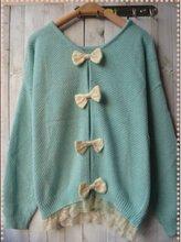 Shuge 2012 Wholesale Hot Sale Sweet Bowknot Lace Embellished Sweater Light Blue O12080910-2