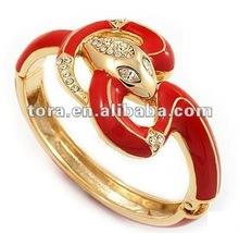 Fashion Gold Plated Crystal Coral Enamel Hinged Snake Bangle Bracelet new gold bracelet designs