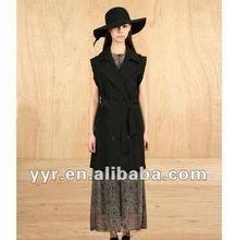 2012 Latest Autumn Lady Sleeveless With Belt Black Coat