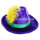 PURPLE MARDI GRAS COWBOY HAT WITH FEATHER