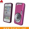 camera shape silicone case for iphone 4 purple