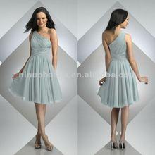 Pleated one shoulder chiffon bridesmaid dress