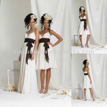 Spaghetti strap - shirred v-neck bodice in tea length bridesmaid dress