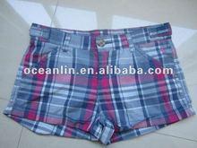 2012 new fashion ladies casual plaid cotton hot shorts