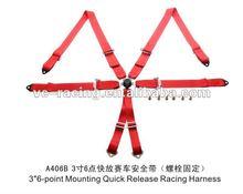 "2012 Hot selling FIA 2017 Homologation Eyebolts 3"" 6 Points Quick Release Sport Car Safety Seat Belt"