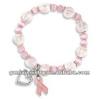 Breast Cancer Pink Beaded Bracelets