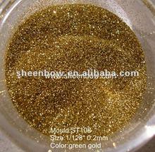 Green gold glitter powder for nail art 0.05-3.0mm