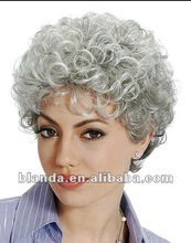 hot sale grey color kinky curly T two tone color front lace wig for old women