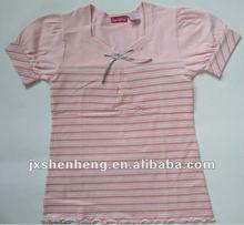 fashion silver bow collar ,waist short sleeve, pink flower girls T-shirt2012