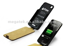 1500MAH Leather battery case for iphone 4 4s, for iphone battery case