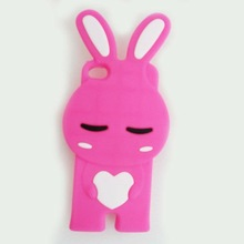 3D Shy Rabbit Bunny Rabbit Soft Silicone Case Cover Skin for iphone 4 4s