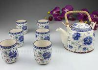 antique blue and white japanese tea set