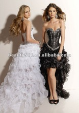 Short front long back design strapless fitted corset cocktail dress with bling beads and crystals CD91032