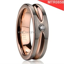 IPG color tungsten rings for engagement bands,burshed outside,polished inner,with 1 pcs cz stone inlay