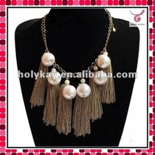 2012 Unique design necklace jewelry with big pearl and metal tassels