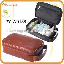tan leather cosmetic bag