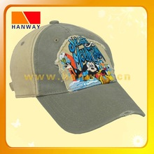 5-panel canvas mesh sports cap by garment wash with applique embroidery on the front panel