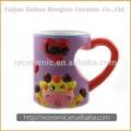 2010 a mano- pinted de los animales en forma de corazón de cerámica taza- jirafa