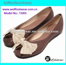 fabric flower fashion pu leather flat shoes