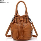 Women genuine leather handbag,rivet decoration bucket bag,lady business bag