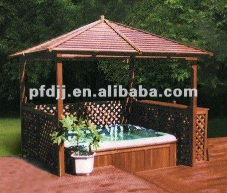 100 en bois rectangle plein air gazebo pavillon avec hot for Spa exterieur couvert