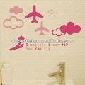 De dibujos animados lindo niños aeronaves decoración de la habitación anti - el agua de la pared de vinilo de arte calcomanía& etiqueta