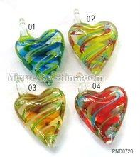 Multicolor heart murano lampwork glass pendant charm