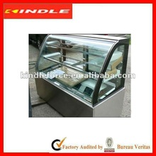 stainless steel cake display cabinet with shelves and sliding door